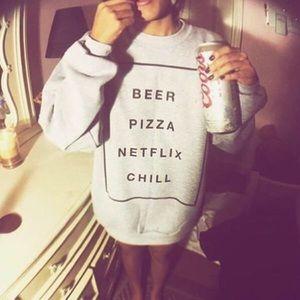 Sweaters - Beer pizza Netflix chill sweatshirt